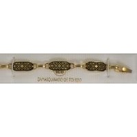 Damascene Gold Link Bracelet Rectangle Star of David by Midas of Toledo Spain style 800002