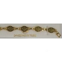 Damascene Gold Link Bracelet Oval Star of David by Midas of Toledo Spain style 2023