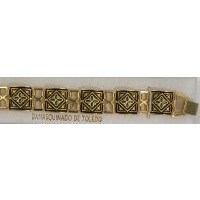 Damascene Gold Link Bracelet Square Geometric by Midas of Toledo Spain style 2041