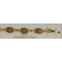 Damascene Gold Link Bracelet Rectangle Geometric by Midas of Toledo Spain style 2042