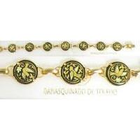 Damascene Gold Link Bracelet Round Bird by Midas of Toledo Spain style 2057