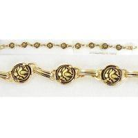 Damascene Gold Link Bracelet Round Bird by Midas of Toledo Spain style 2060