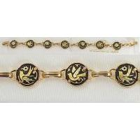 Damascene Gold Link Bracelet Round Bird by Midas of Toledo Spain style 2061