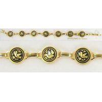 Damascene Gold Link Bracelet Round Bird by Midas of Toledo Spain style 2064