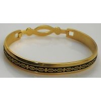 Damascene Gold Geometric Bracelet by Midas of Toledo Spain style 2092