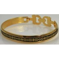 Damascene Gold Geometric Bracelet by Midas of Toledo Spain style 2094