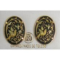 Damascene Gold 20mm x 14mm Oval Bird Stud Earrings by Midas of Toledo Spain style 2102