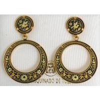 Damascene Gold Bird 28mm Round Drop Earrings by Midas of Toledo Spain style 2104