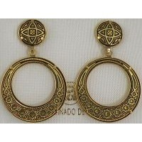 Damascene Gold Geometric 28mm Round Drop Earrings by Midas of Toledo Spain style 2104
