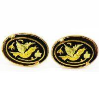 Damascene Gold Oval Bird Earrings by Midas of Toledo Spain style 2107Bird