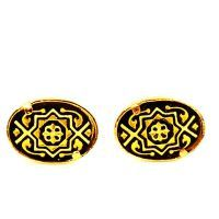 Damascene Gold Oval Geometric Design Earrings by Midas of Toledo Spain style 2107Geometric