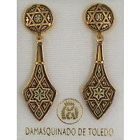 Damascene Gold Deltoid Star of David Stud Drop Earrings by Midas of Toledo Spain style 2112