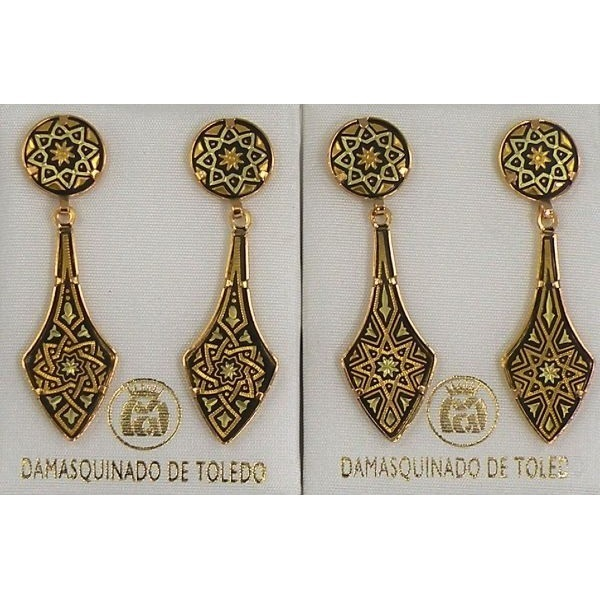 Damascene Gold Deltoid Star Stud Drop Earrings By Midas Of Toledo Spain Style 2112