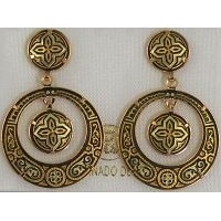 Damascene Gold Geometric 28mm Round Drop Earrings by Midas of Toledo Spain style 2114