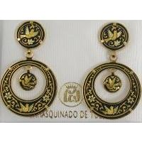 Damascene Gold 24mm Bird Round Drop Earrings by Midas of Toledo Spain style 2115