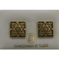 Damascene Gold 12mm Square Star of David Earrings by Midas of Toledo Spain style 2121