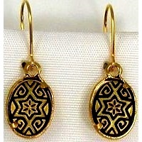 Damascene Gold Star of David Oval Drop Earrings by Midas of Toledo Spain style 2123
