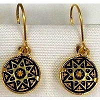 Damascene Gold Star Round Drop Earrings by Midas of Toledo Spain style 2124