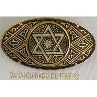 Damascene Gold Star of David Oval Brooch by Midas of Toledo Spain style 2238