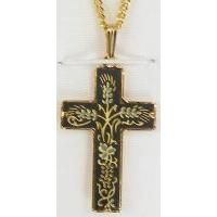 Damascene Gold Thorn Cross Pendant on Chain Necklace by Midas of Toledo Spain style 2250