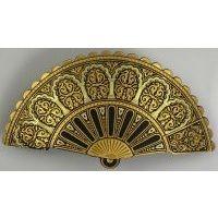 Damascene Gold Geometric Fan Hair Barrette by Midas of Toledo Spain style 2344