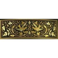 Damascene Gold Bird Rectangle Barrette by Midas of Toledo Spain style 2346-6