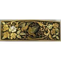 Damascene Gold Bird Rectangle Hair Barrette by Midas of Toledo Spain style 2346