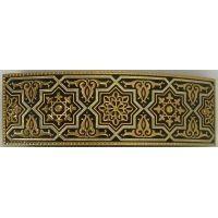 Damascene Gold Geometric Rectangle Hair Barrette by Midas of Toledo Spain style 2346