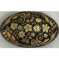 Damascene Gold Flower Oval Hair Barrette by Midas of Toledo Spain style 2347