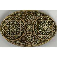 Damascene Gold Geometric Oval Hair Barrette by Midas of Toledo Spain style 2347