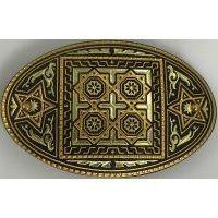 Damascene Gold Star Oval Hair Barrette by Midas of Toledo Spain style 2347