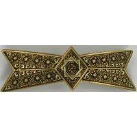 Damascene Gold Geometric Bowtie Barrette by Midas of Toledo Spain style 2348-C