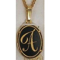 Damascene Gold Letter A Oval Pendant on Chain Necklace by Midas of Toledo Spain style 2363