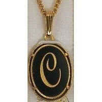 Damascene Gold Letter C Oval Pendant on Chain Necklace by Midas of Toledo Spain style 2363