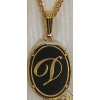 Damascene Gold Letter D Oval Pendant on Chain Necklace by Midas of Toledo Spain style 2363