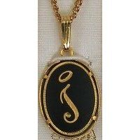 Damascene Gold Letter I Oval Pendant on Chain Necklace by Midas of Toledo Spain style 2363