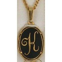 Damascene Gold Letter K Oval Pendant on Chain Necklace by Midas of Toledo Spain style 2363