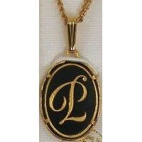 Damascene Gold Letter P Oval Pendant on Chain Necklace by Midas of Toledo Spain style 2363