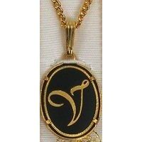 Damascene Gold Letter V Oval Pendant on Chain Necklace by Midas of Toledo Spain style 2363