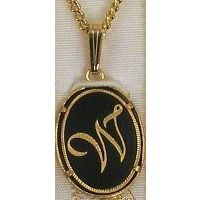Damascene Gold Letter W Oval Pendant on Chain Necklace by Midas of Toledo Spain style 2363