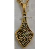 Damascene Gold Star Pendant Deltoid on Chain Necklace by Midas of Toledo Spain style 2366