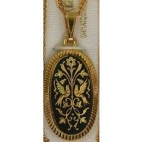Damascene Gold Bird Oval Pendant on Chain Necklace by Midas of Toledo Spain style 2382