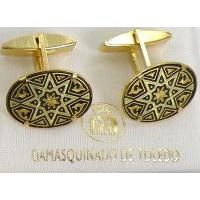 Damascene Gold Mens Cufflinks Oval Star by Midas of Toledo Spain style 2503