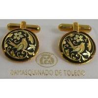 Damascene Gold Mens Cufflinks Round Bird by Midas of Toledo Spain style 2504