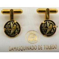 Damascene Gold Mens Cufflinks Round Bird by Midas of Toledo Spain style 2509