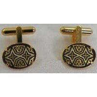 Damascene Gold Mens Cufflinks Oval Geometric by Midas of Toledo Spain style 2510