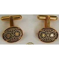 Damascene Gold Mens Cufflinks Oval Star by Midas of Toledo Spain style 2510