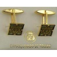 Damascene Gold Mens Cufflinks Square Star of David by Midas of Toledo Spain style 2511