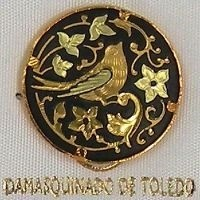 Damascene Gold Bird Round Pin /Tie Tack by Midas of Toledo Spain style 2520-2