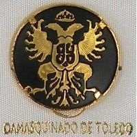 Damascene Gold Toledo Coat of Arms Round Pin /Tie Tack by Midas of Toledo Spain style 2520-8